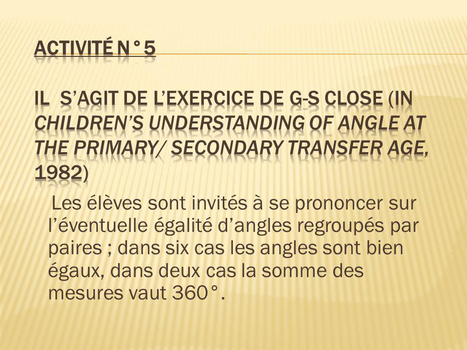Les élèves sont invités à se prononcer sur léventuelle égalité dangles regroupés par paires ; dans six cas les angles sont bien égaux, dans deux cas l