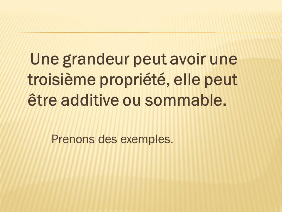 Une grandeur peut avoir une troisième propriété, elle peut être additive ou sommable. Prenons des exemples.