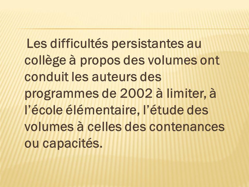 Les difficultés persistantes au collège à propos des volumes ont conduit les auteurs des programmes de 2002 à limiter, à lécole élémentaire, létude de