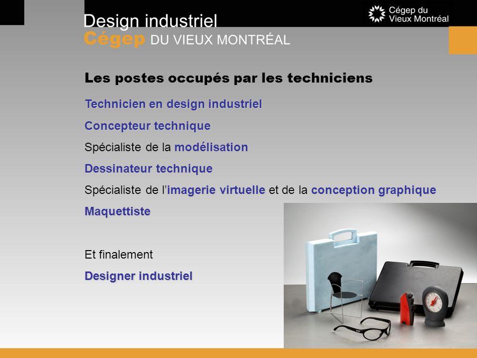 Les postes occupés par les techniciens Technicien en design industriel Concepteur technique modélisation Spécialiste de la modélisation Dessinateur te