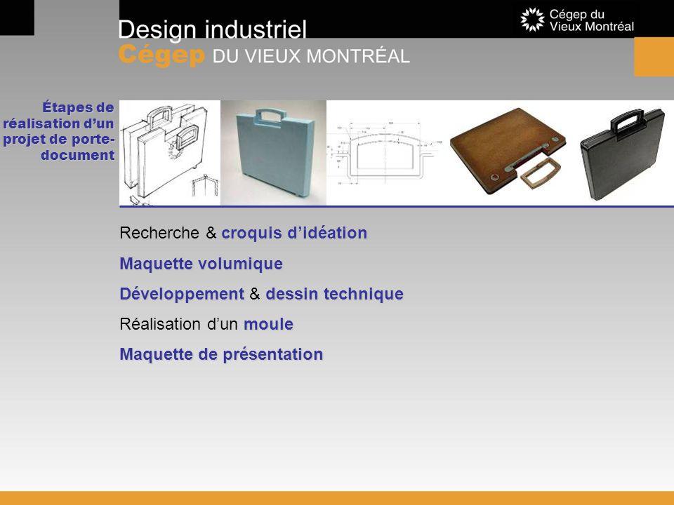 Étapes de réalisation dun projet de porte- document croquis didéation Recherche & croquis didéation Maquette volumique Développement dessin technique