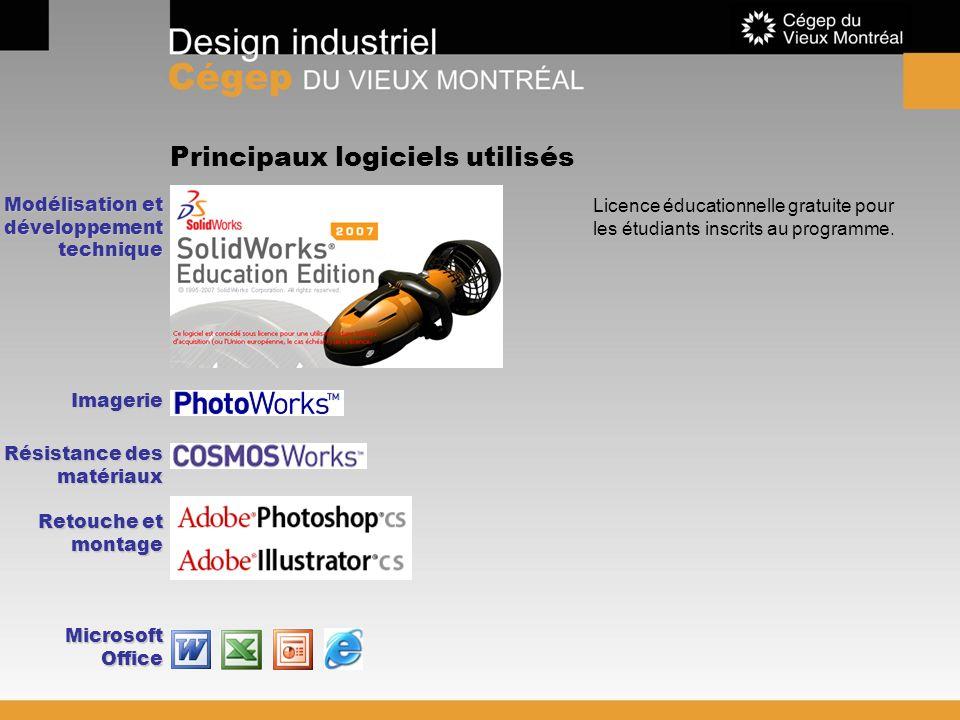 Principaux logiciels utilisés Licence éducationnelle gratuite pour les étudiants inscrits au programme. Imagerie Modélisation et développement techniq