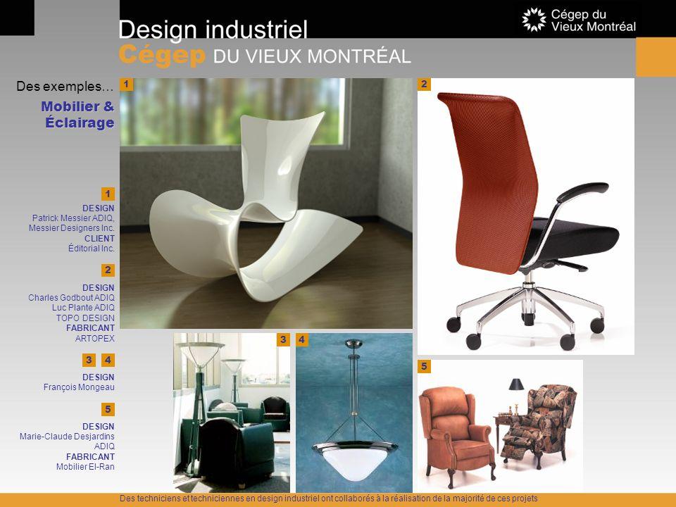 Des exemples… Mobilier & Éclairage 12 5 2 1 DESIGN Charles Godbout ADIQ Luc Plante ADIQ TOPO DESIGN FABRICANT ARTOPEX DESIGN Patrick Messier ADIQ, Mes