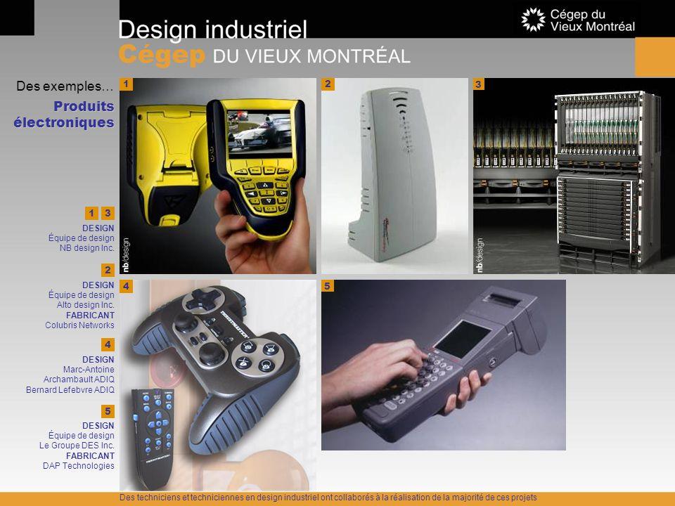 Des exemples… Produits électroniques 3 2 4 DESIGN Marc-Antoine Archambault ADIQ Bernard Lefebvre ADIQ 3 DESIGN Équipe de design NB design Inc. 4 1 5 2