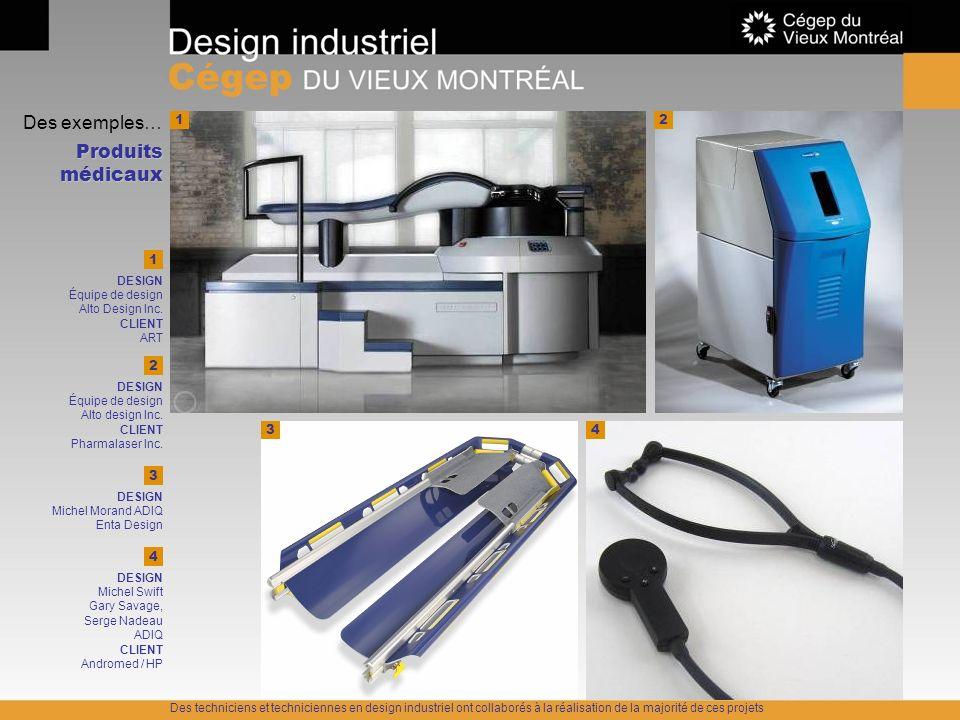 Des exemples… Produits médicaux 1 1 DESIGN Équipe de design Alto Design Inc. CLIENT ART 2 43 4 DESIGN Michel Swift Gary Savage, Serge Nadeau ADIQ CLIE