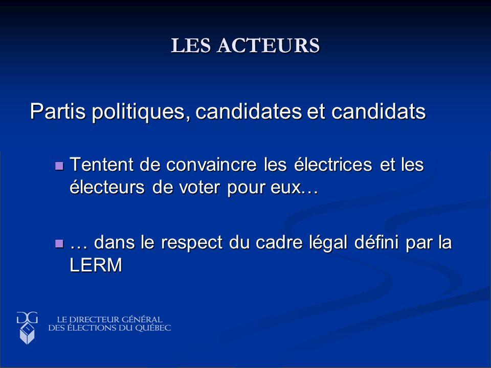 LES ACTEURS Partis politiques, candidates et candidats Tentent de convaincre les électrices et les électeurs de voter pour eux… Tentent de convaincre