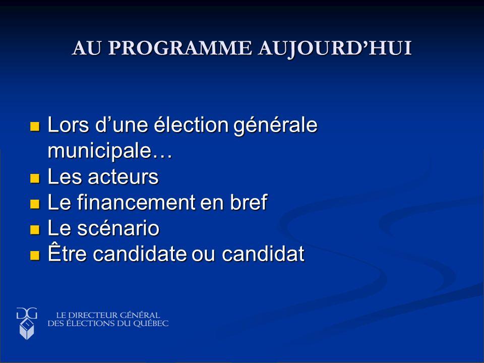 AU PROGRAMME AUJOURDHUI Lors dune élection générale municipale… Lors dune élection générale municipale… Les acteurs Les acteurs Le financement en bref