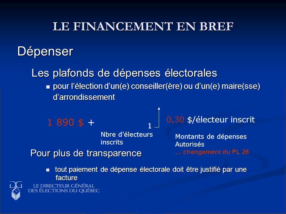 LE FINANCEMENT EN BREF Dépenser Les plafonds de dépenses électorales pour lélection dun(e) conseiller(ère) ou dun(e) maire(sse) darrondissement pour l