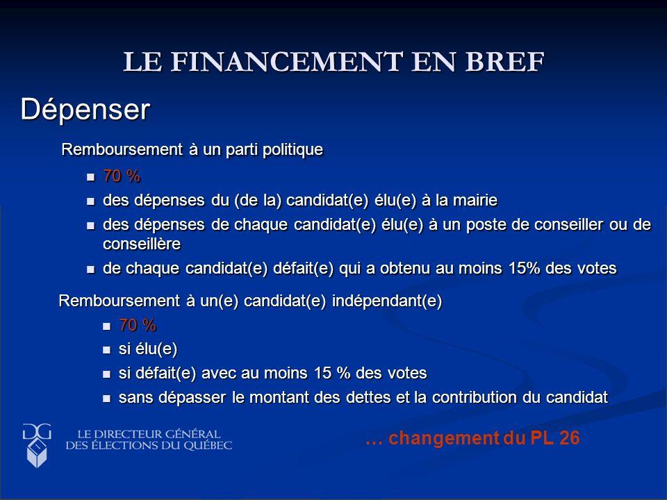 LE FINANCEMENT EN BREF Dépenser Remboursement à un parti politique Remboursement à un parti politique 70 % 70 % des dépenses du (de la) candidat(e) él