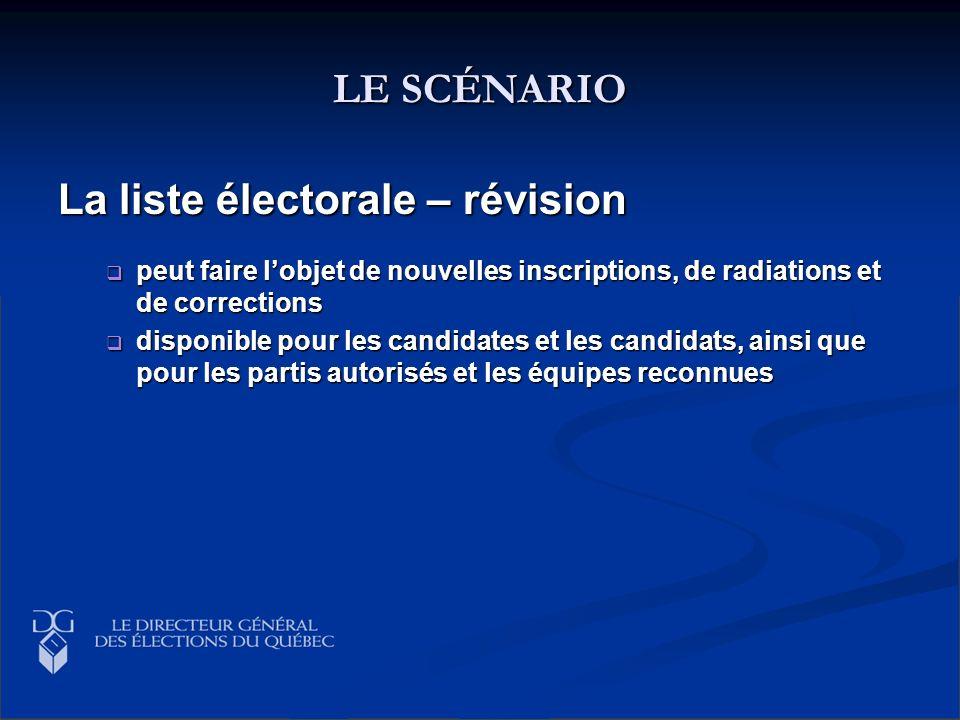LE SCÉNARIO La liste électorale – révision peut faire lobjet de nouvelles inscriptions, de radiations et de corrections peut faire lobjet de nouvelles
