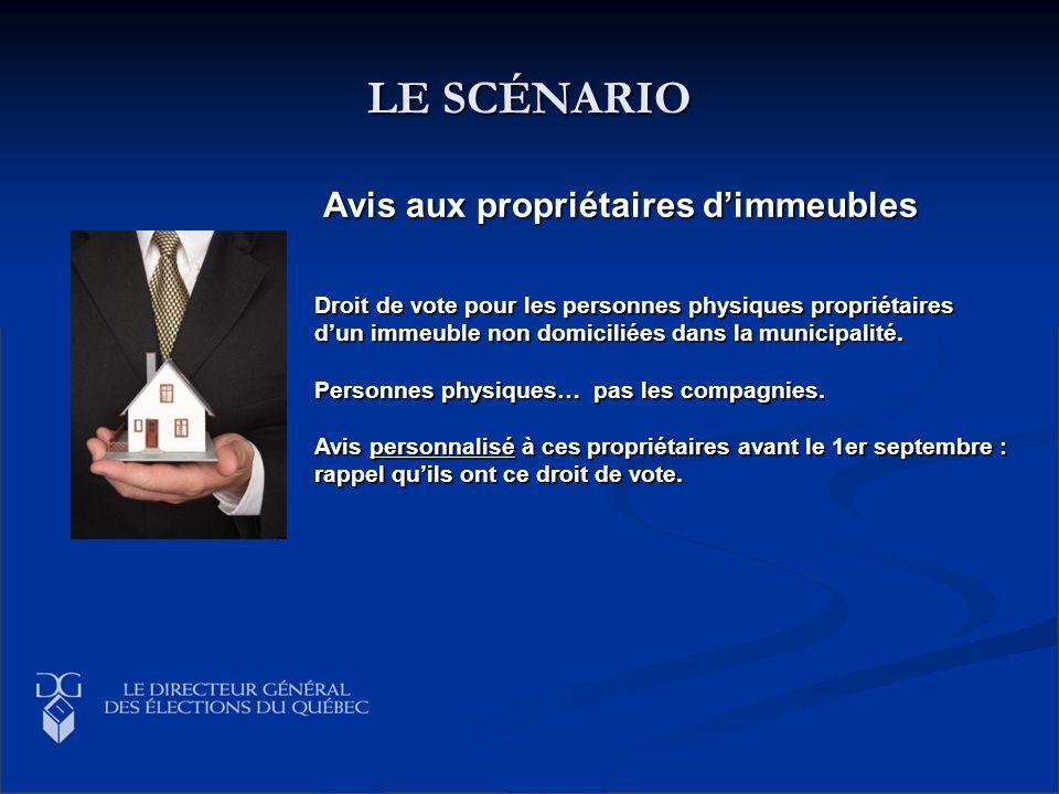 LE SCÉNARIO Droit de vote pour les personnes physiques propriétaires dun immeuble non domiciliées dans la municipalité. Personnes physiques… pas les c