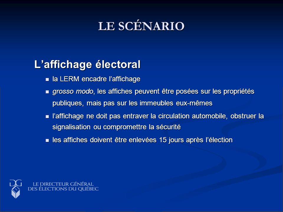 LE SCÉNARIO Laffichage électoral Laffichage électoral la LERM encadre laffichage la LERM encadre laffichage grosso modo, les affiches peuvent être pos