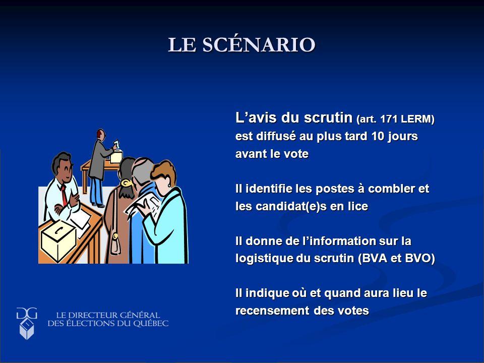 LE SCÉNARIO Lavis du scrutin (art. 171 LERM) est diffusé au plus tard 10 jours avant le vote Il identifie les postes à combler et les candidat(e)s en