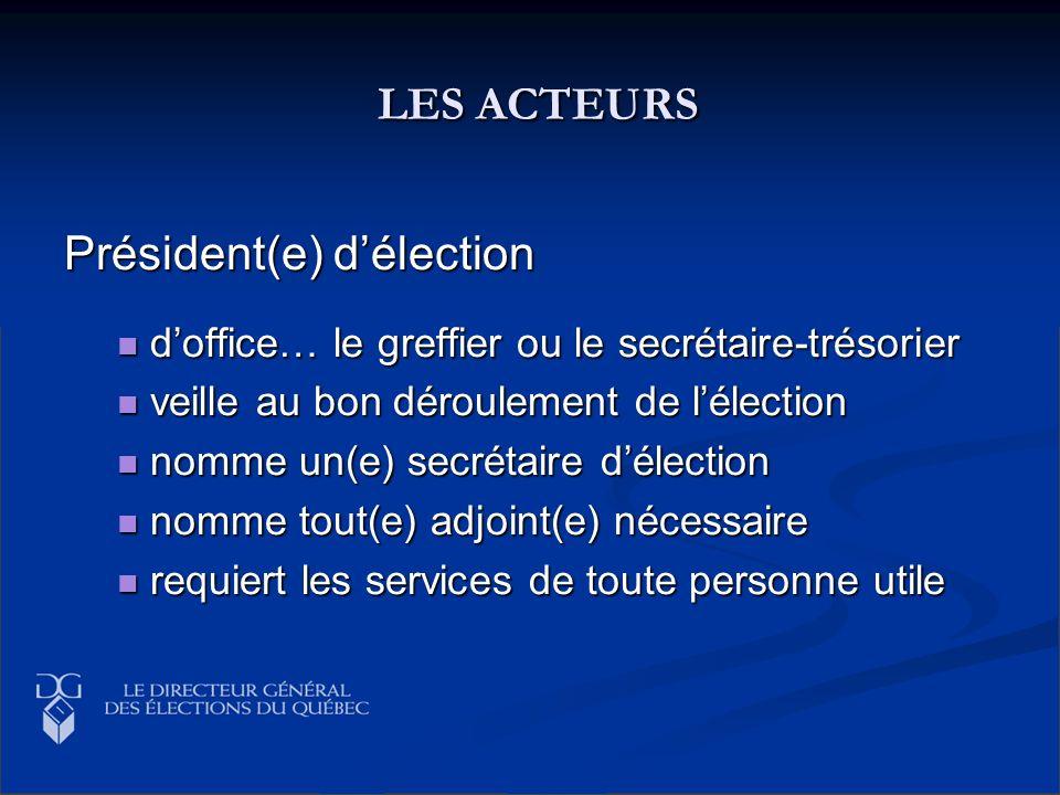 LES ACTEURS LES ACTEURS Président(e) délection doffice… le greffier ou le secrétaire-trésorier doffice… le greffier ou le secrétaire-trésorier veille