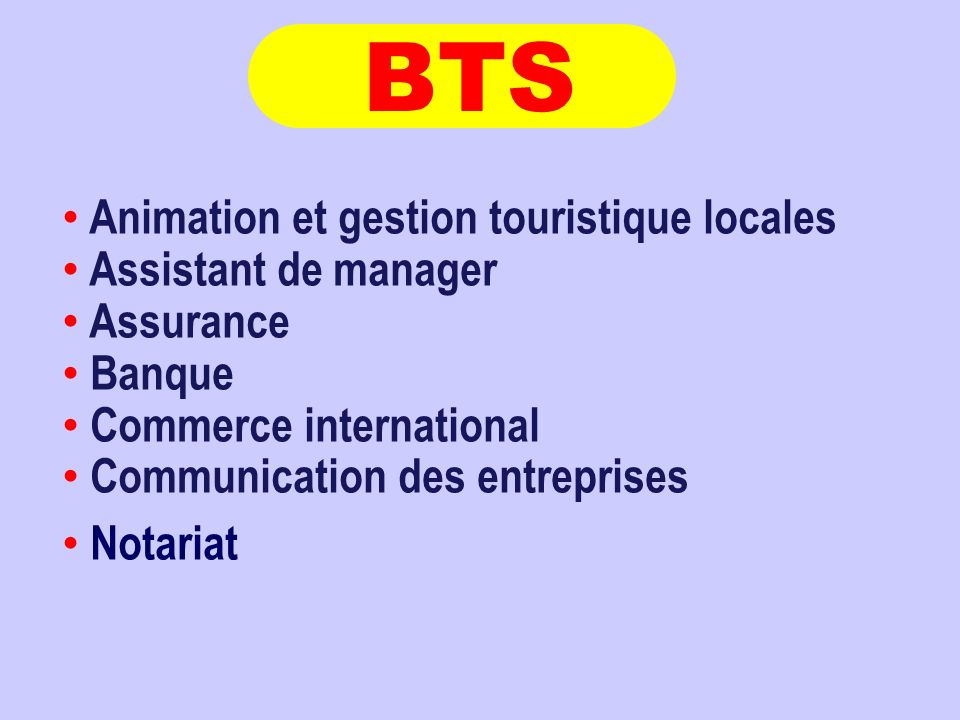 Animation et gestion touristique locales Assistant de manager Assurance Banque Commerce international Communication des entreprises Notariat BTS