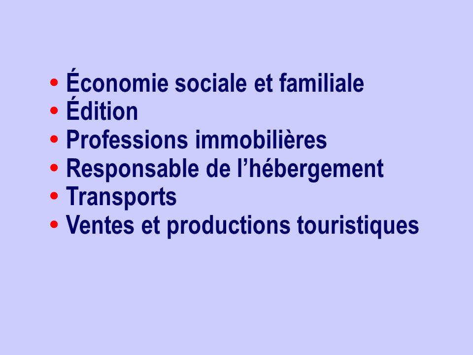 Économie sociale et familiale Édition Professions immobilières Responsable de lhébergement Transports Ventes et productions touristiques