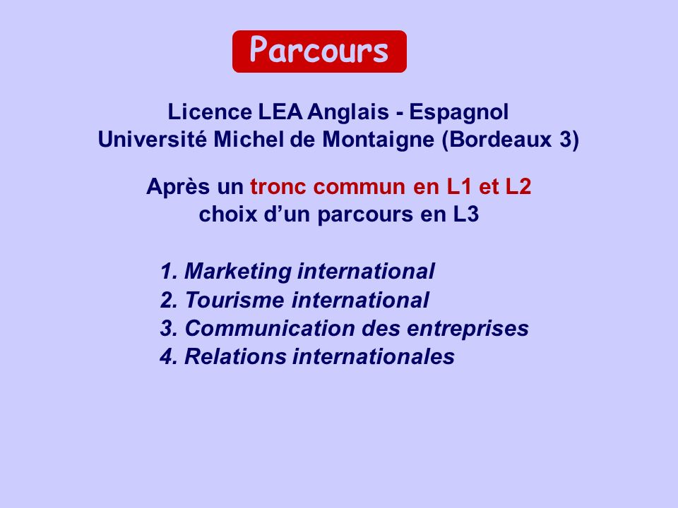 1. Marketing international 2. Tourisme international 3. Communication des entreprises 4. Relations internationales Licence LEA Anglais - Espagnol Univ