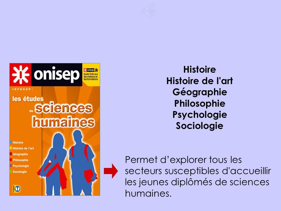 Après le Bac ES Choisir un domaine Histoire Histoire de l art Géographie Philosophie Psychologie Sociologie Permet dexplorer tous les secteurs susceptibles d accueillir les jeunes diplômés de sciences humaines.