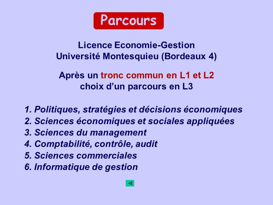 Parcours 1. Politiques, stratégies et décisions économiques 2.