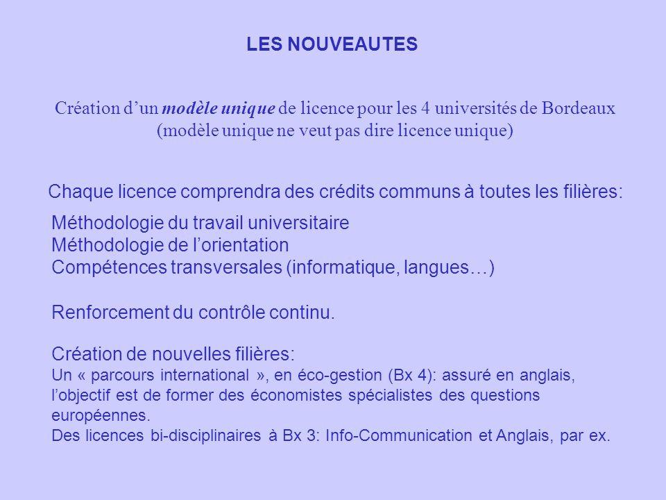 LES NOUVEAUTES Création dun modèle unique de licence pour les 4 universités de Bordeaux (modèle unique ne veut pas dire licence unique) Chaque licence comprendra des crédits communs à toutes les filières: Méthodologie du travail universitaire Méthodologie de lorientation Compétences transversales (informatique, langues…) Renforcement du contrôle continu.