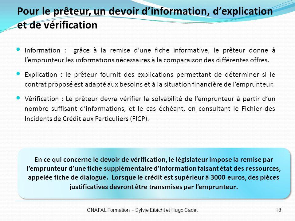 Pour le prêteur, un devoir dinformation, dexplication et de vérification Information : grâce à la remise dune fiche informative, le prêteur donne à le
