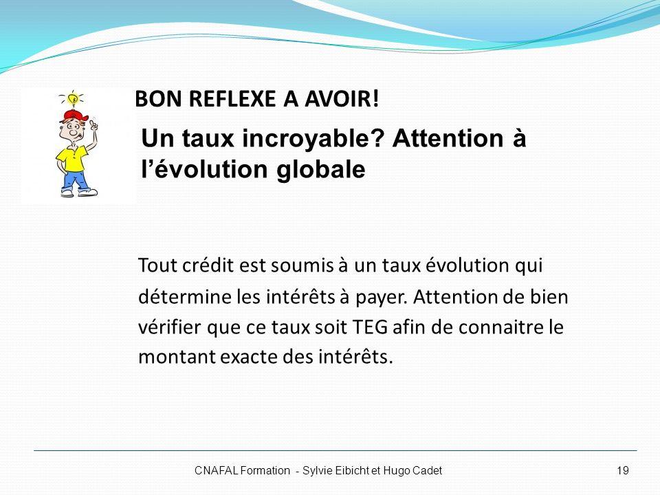 BON REFLEXE A AVOIR! CNAFAL Formation - Sylvie Eibicht et Hugo Cadet19 Tout crédit est soumis à un taux évolution qui détermine les intérêts à payer.