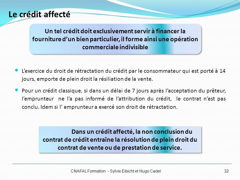 Le crédit affecté Lexercice du droit de rétractation du crédit par le consommateur qui est porté à 14 jours, emporte de plein droit la résiliation de