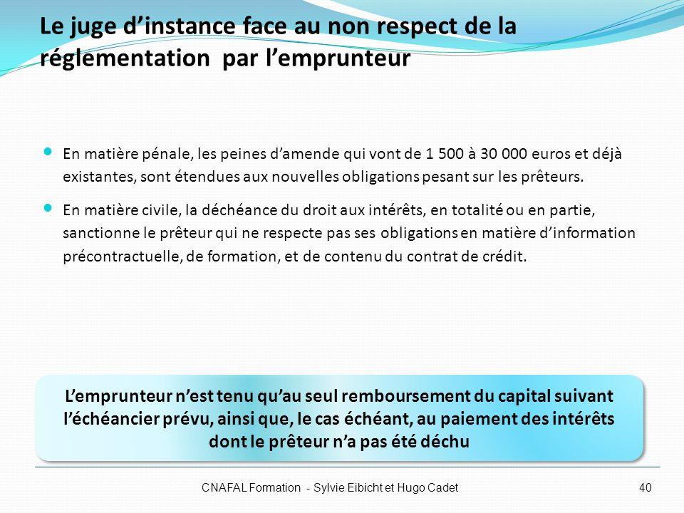 Le juge dinstance face au non respect de la réglementation par lemprunteur En matière pénale, les peines damende qui vont de 1 500 à 30 000 euros et d