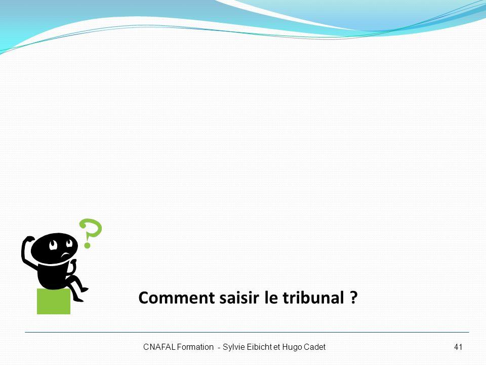 CNAFAL Formation - Sylvie Eibicht et Hugo Cadet41 Comment saisir le tribunal ?