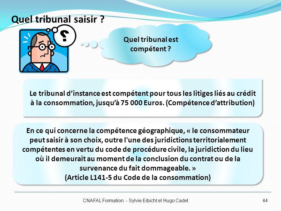Quel tribunal saisir ? CNAFAL Formation - Sylvie Eibicht et Hugo Cadet44 Le tribunal dinstance est compétent pour tous les litiges liés au crédit à la