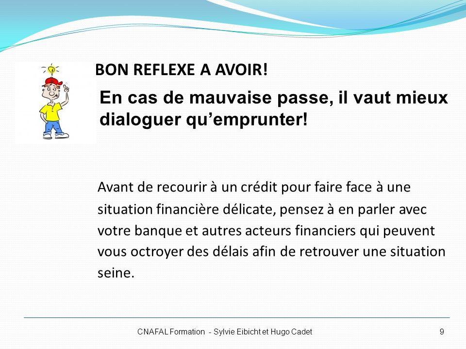 BON REFLEXE A AVOIR! CNAFAL Formation - Sylvie Eibicht et Hugo Cadet9 Avant de recourir à un crédit pour faire face à une situation financière délicat
