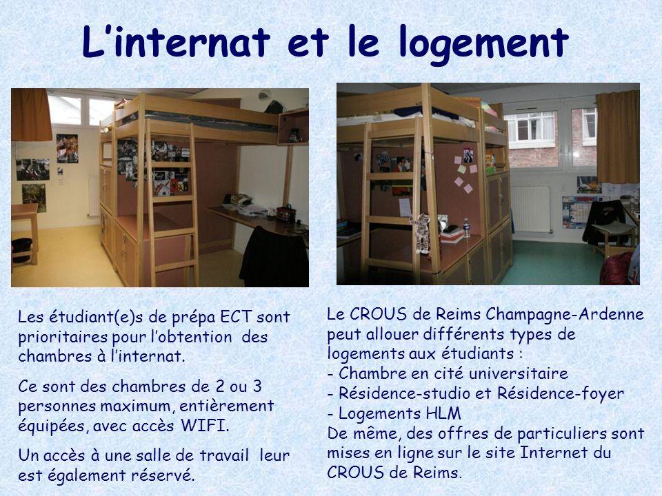Linternat et le logement Les étudiant(e)s de prépa ECT sont prioritaires pour lobtention des chambres à linternat. Ce sont des chambres de 2 ou 3 pers