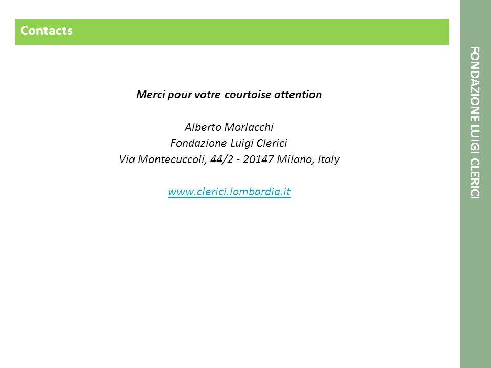 Contacts Merci pour votre courtoise attention Alberto Morlacchi Fondazione Luigi Clerici Via Montecuccoli, 44/2 - 20147 Milano, Italy www.clerici.lomb
