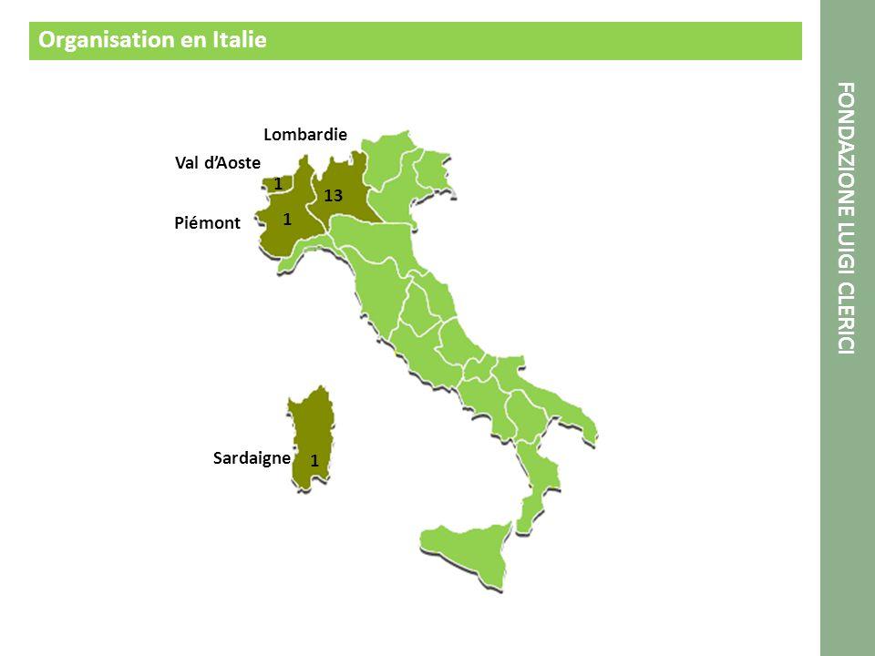 Organisation en Italie FONDAZIONE LUIGI CLERICI 1 1 1 13 Sardaigne Piémont Val dAoste Lombardie