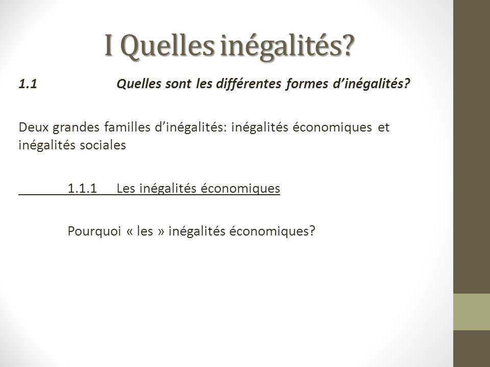 I Quelles inégalités? 1.1Quelles sont les différentes formes dinégalités? Deux grandes familles dinégalités: inégalités économiques et inégalités soci