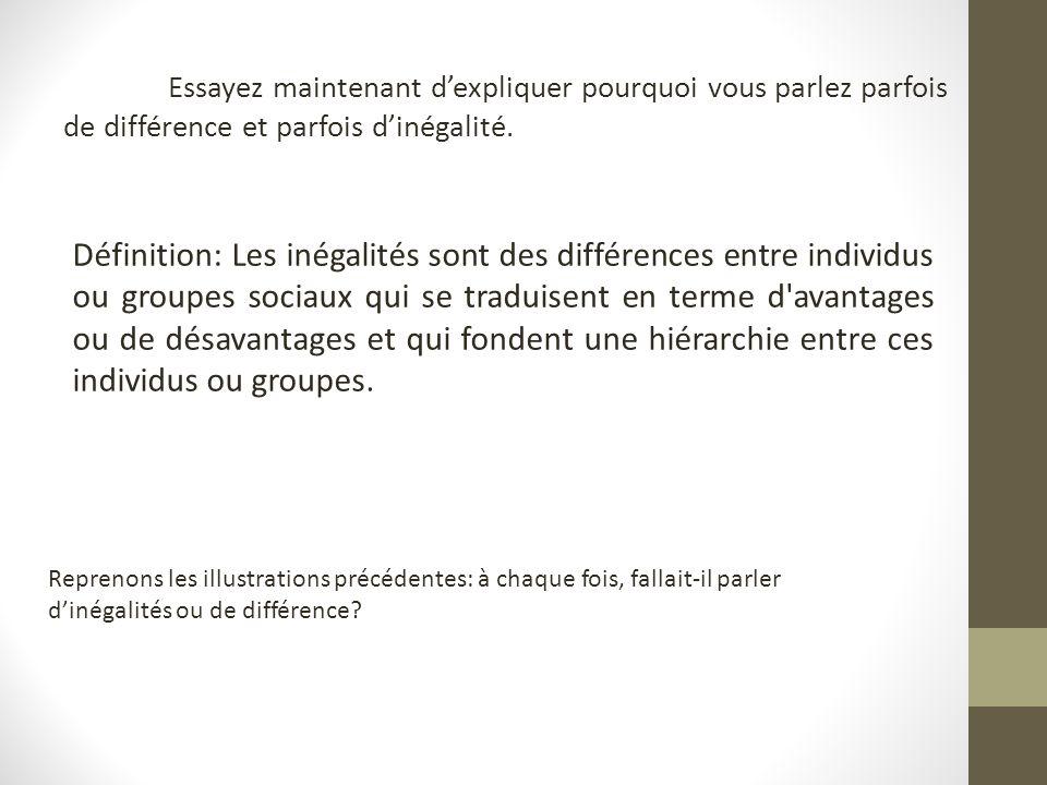 -Petit/ Grand : Différence, même si… -Mii Mr T / Mii Spielberg: Plusieurs caractéristiques: âge, couleur de peau Pour les deux, plutôt inégalités -Riche/pauvre: Inégalité (qui peut être liée à de multiples différences) -Homme / Femme: Inégalité car différences de salaire, de temps de travail domestique…