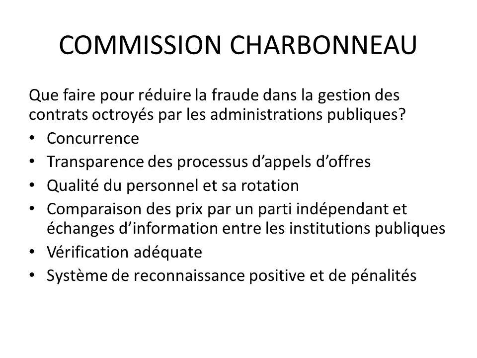 COMMISSION CHARBONNEAU Que faire pour réduire la fraude dans la gestion des contrats octroyés par les administrations publiques.