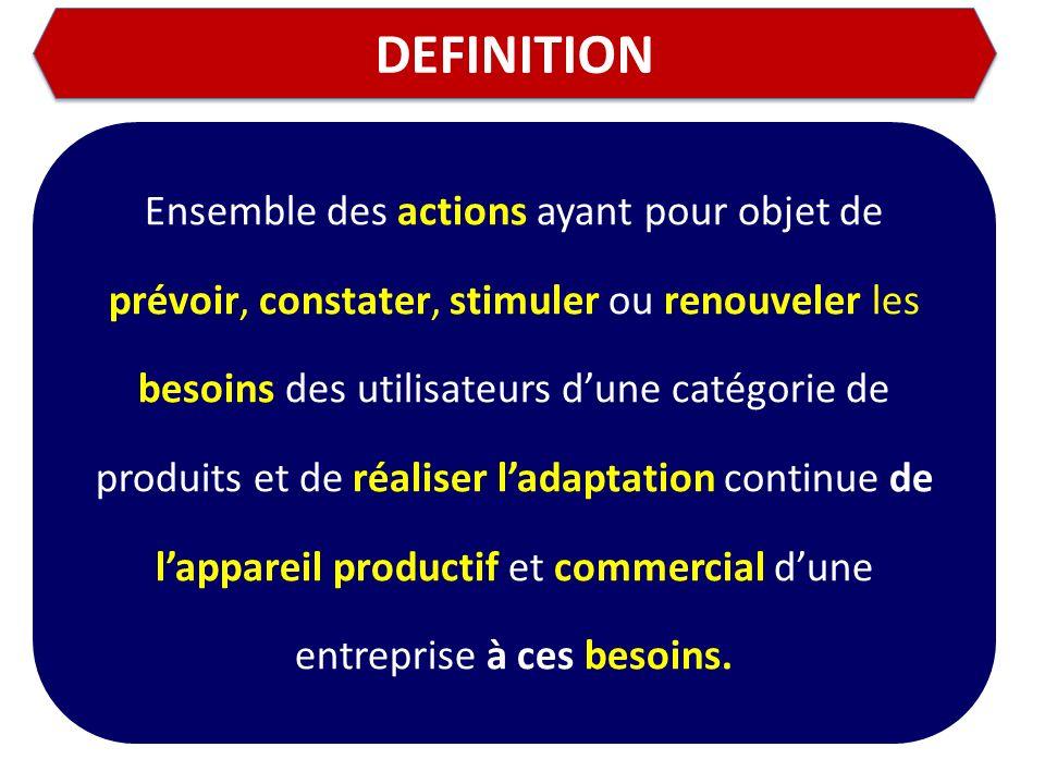 DEFINITION Ensemble des actions ayant pour objet de prévoir, constater, stimuler ou renouveler les besoins des utilisateurs dune catégorie de produits