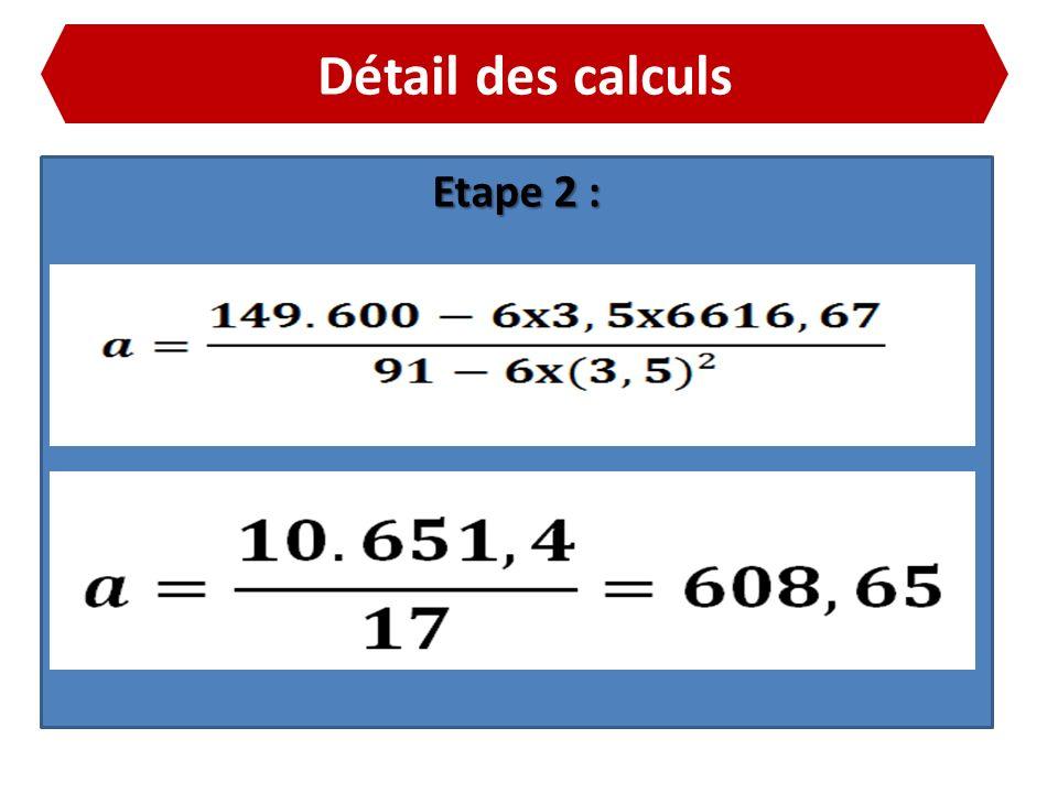 Détail des calculs Etape 2 :