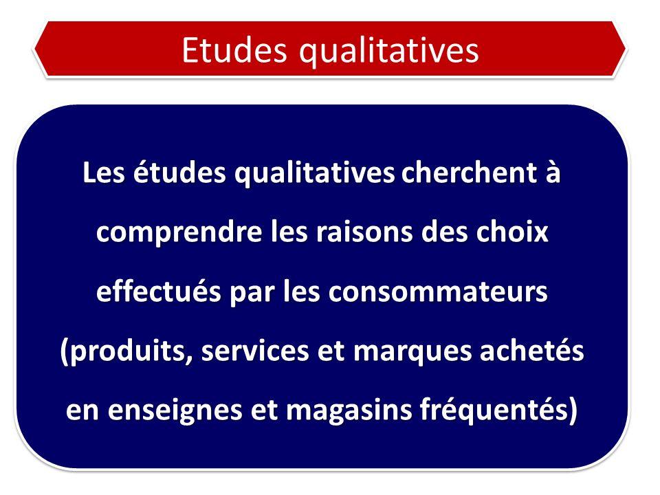 Etudes qualitatives Les études qualitatives cherchent à comprendre les raisons des choix effectués par les consommateurs (produits, services et marque