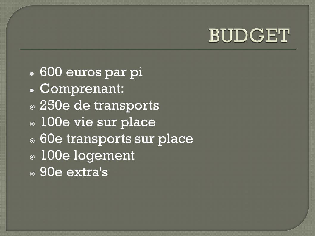 600 euros par pi Comprenant: 250e de transports 100e vie sur place 60e transports sur place 100e logement 90e extra s