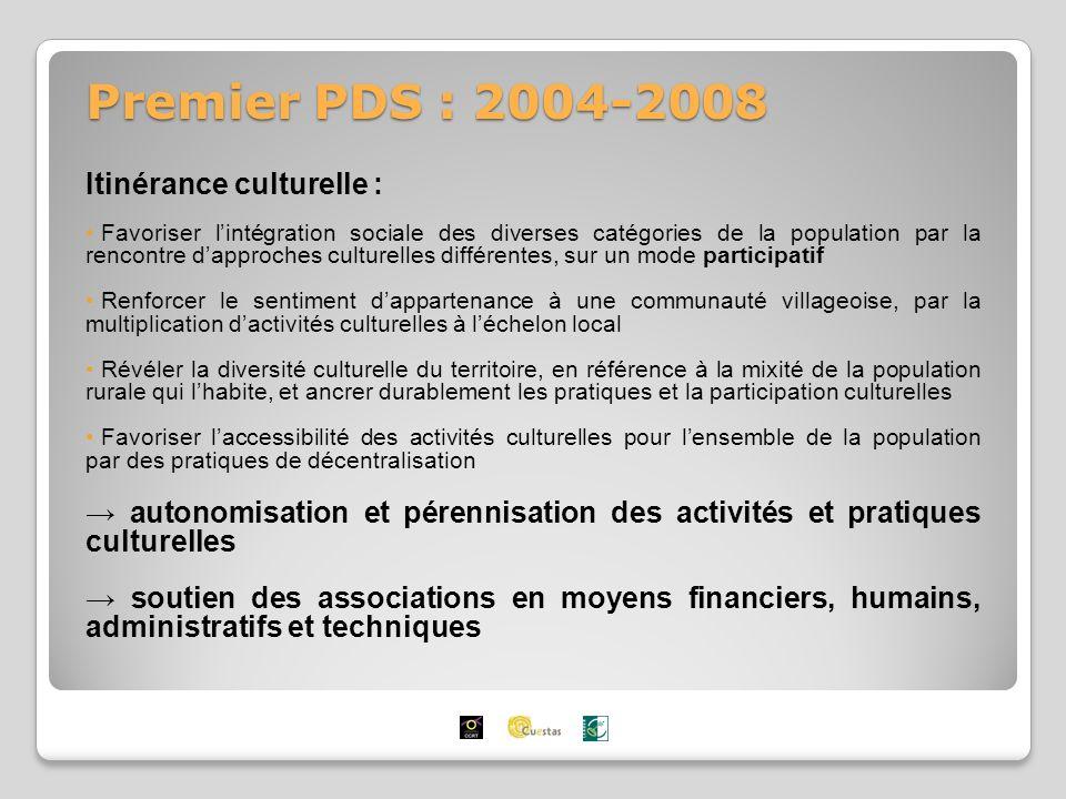 Premier PDS : 2004-2008 Itinérance culturelle : Favoriser lintégration sociale des diverses catégories de la population par la rencontre dapproches culturelles différentes, sur un mode participatif Renforcer le sentiment dappartenance à une communauté villageoise, par la multiplication dactivités culturelles à léchelon local Révéler la diversité culturelle du territoire, en référence à la mixité de la population rurale qui lhabite, et ancrer durablement les pratiques et la participation culturelles Favoriser laccessibilité des activités culturelles pour lensemble de la population par des pratiques de décentralisation autonomisation et pérennisation des activités et pratiques culturelles soutien des associations en moyens financiers, humains, administratifs et techniques