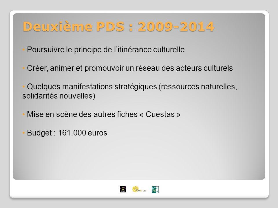 Deuxième PDS : 2009-2014 Poursuivre le principe de litinérance culturelle Créer, animer et promouvoir un réseau des acteurs culturels Quelques manifestations stratégiques (ressources naturelles, solidarités nouvelles) Mise en scène des autres fiches « Cuestas » Budget : 161.000 euros