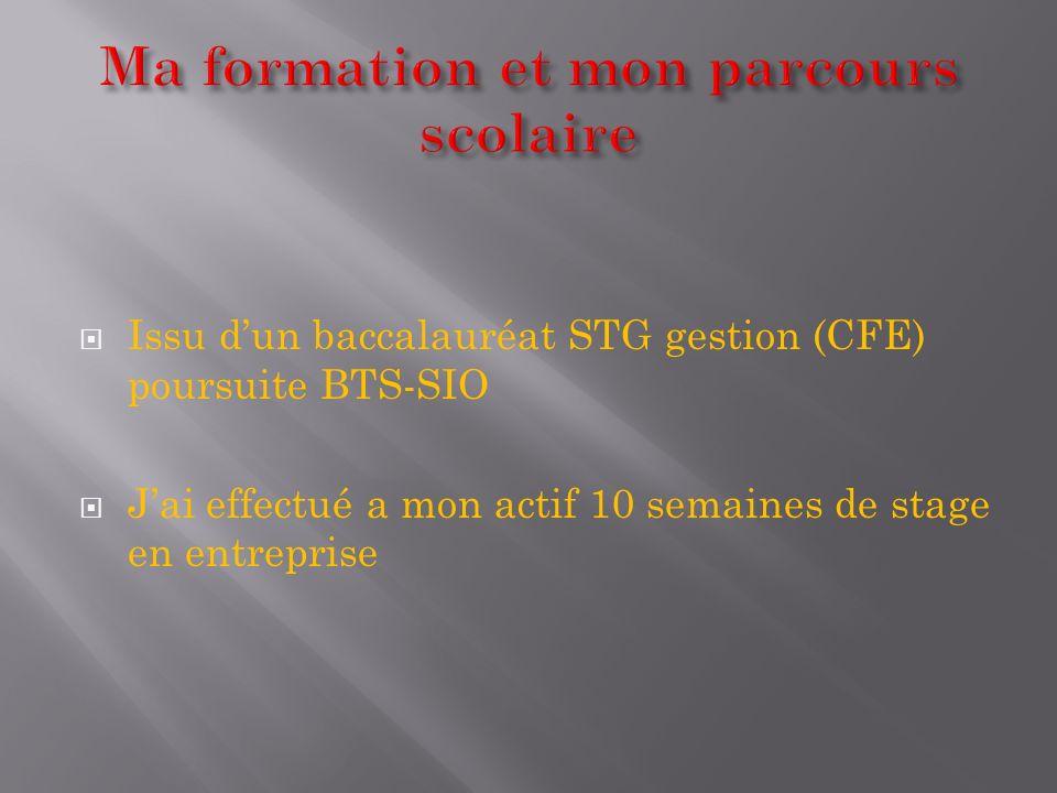 Issu dun baccalauréat STG gestion (CFE) poursuite BTS-SIO Jai effectué a mon actif 10 semaines de stage en entreprise
