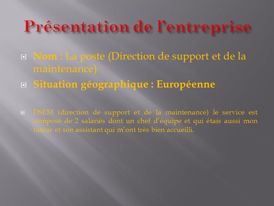 Nom : La poste (Direction de support et de la maintenance) Situation géographique : Européenne DSEM (direction de support et de la maintenance) le ser