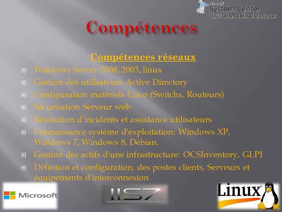 Compétences réseaux Windows Server 2008, 2003, linux Gestion des utilisateurs Active Directory Configuration matériels Cisco (Switchs, Routeurs) Sécur