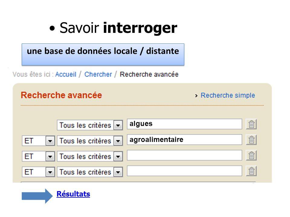 Savoir interroger une base de données locale / distante Poitou-Charentes * algues algues agroalimentaire Résultats