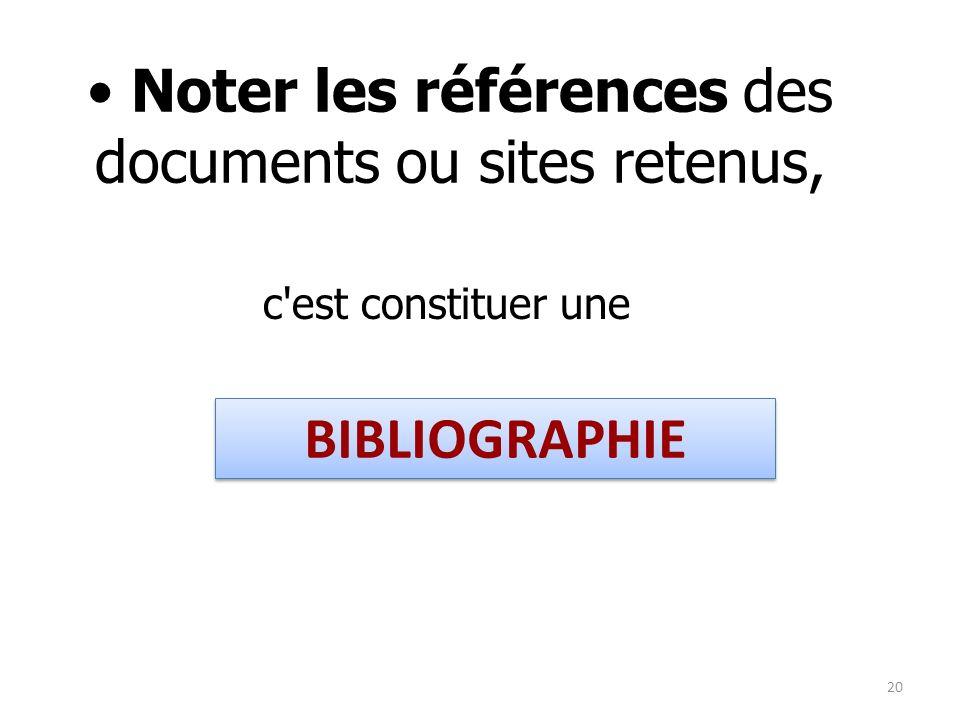 c'est constituer une Noter les références des documents ou sites retenus, BIBLIOGRAPHIE 20