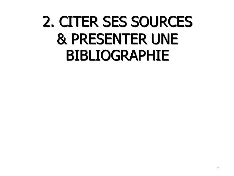 2. CITER SES SOURCES & PRESENTER UNE BIBLIOGRAPHIE 21