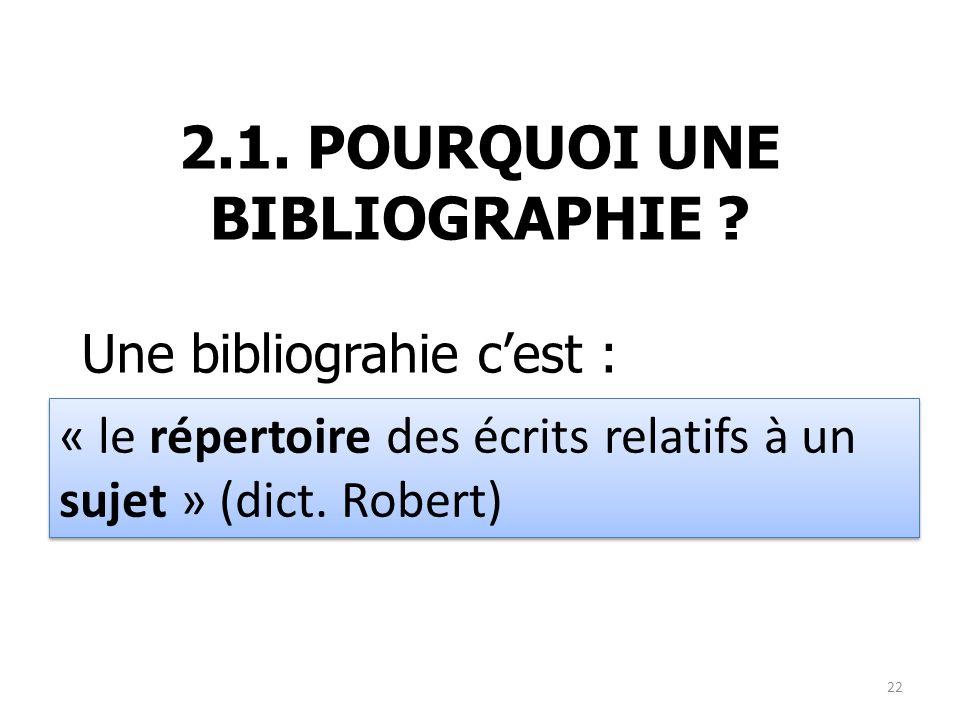 2.1. POURQUOI UNE BIBLIOGRAPHIE ? Une bibliograhie cest : « le répertoire des écrits relatifs à un sujet » (dict. Robert) 22